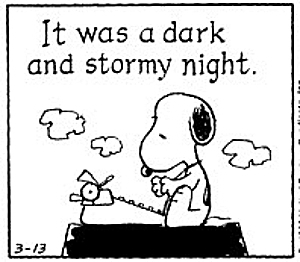 Snoopy dark and stormy night