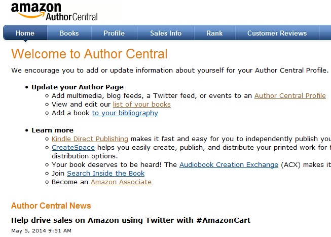 amazon author sales rank